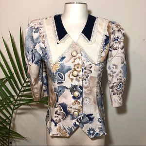 Vintage Miss Dorby Floral Puffy Sleeve Pearl Top